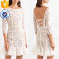 Dentelle ébouriffée blanche manches trois-quarts manches Mini robe d'été Fabrication en gros de mode femmes vêtements (TA0333D)