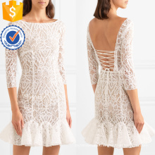 White Ruffled Lace Three Quarter Length Sleeve Mini Summer Dress Manufacture Wholesale Fashion Women Apparel (TA0333D)