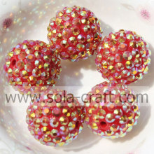 Newest 20*22MM Solid Resin Rhinestone Ball Beads For Necklace Gold Red AB