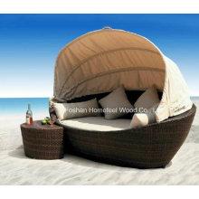 Mobiliário de jardim Outdoor Wicker Lounge Bed Set (OT01)