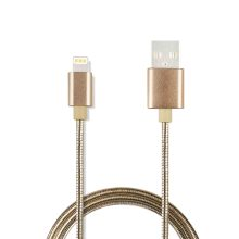 Spring Metal Braid Sync e Charge USB Cable para dispositivos Apple de 8 pinos
