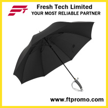 23 polegadas portátil à prova de vento espada guarda-chuva