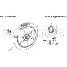 F11 RODA TRASEIRA FIDDLE 50 AW05W-C Para SYM Spare Part Top Quality