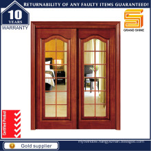 Double Panel Glass Sliding Wood HDF Kitchen Wooden Door