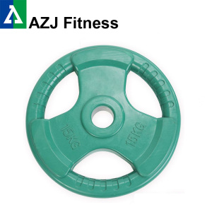 15KG Color Tri-grip Rubber Coated Olympic Weight Plate