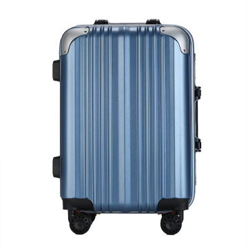 ABS PC aluminum frame blue trolley luggage