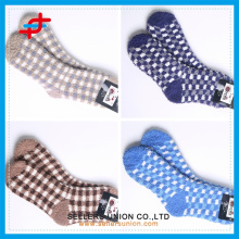 cheap price cozy warm check pattern ankle socks custom logo