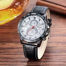 Reloj de moda Multifunción 42mm Metal Case Correa de cuero