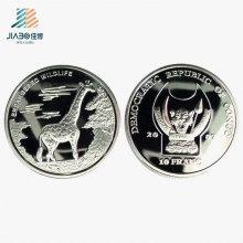 Die-Casting Shiny Silver Personaliza Logo Souvenir Coin, Moneda promocional de regalo