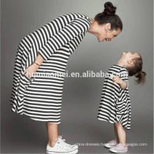 Children frocks designs high quality cotton striped dress mommy and me clothing with long sleeve