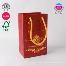 neue Design China Fabrik rot Mode einkaufen Papiertüte mit Griff