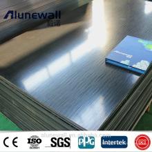 3 mm 0,3 mm 830 mm de ancho cepillado negro ininterrumpido acp TV panel compuesto de aluminio panel a la venta 85RMB / m2