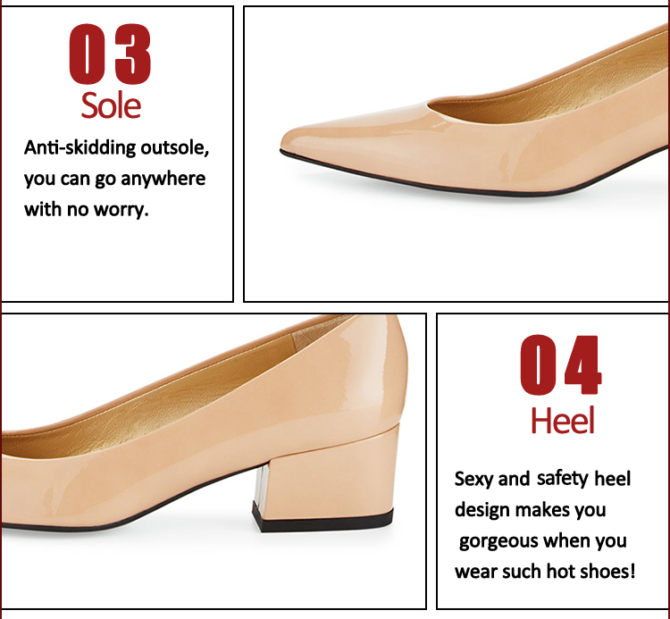 chunky-heel elegant 4cm beige ladies shoes