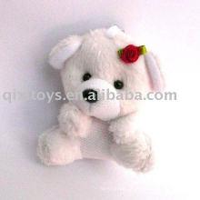 keychain do cão do luxuoso & enchido com flor, brinquedo pequeno bonito do animal do bebê