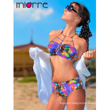 Miorre Women Tropical Patterned High Waist Swimwear Bikini Set
