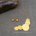 Stainless Steel Wholesale Fashion Woman Jewelry Set Big Disc Necklace