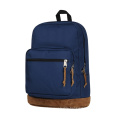 Blue Polyester Laptop Backpack with Velvet Bottom