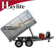 Hot deep galvanized Box cage tipper trailer for farm use