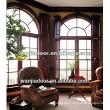 wooden color aluminum fixed arch top windows