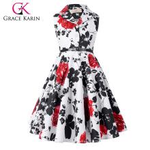 Grace Karin Mädchen Sommerkleid Kinder Retro Vintage Kleid ärmellose Revers Kragen Polka Dots Kinder Party Kleid CL009000-5