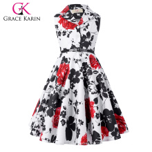 Grace Karin Girls Summer Dress Kids Retro Vintage Vestido sem mangas Lapel Collar Polka Dots Children Party Dress CL009000-5