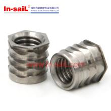 Porca de inserção roscada de aço inoxidável para componentes plásticos