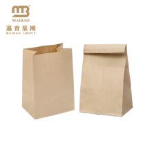 Saco feito sob encomenda durável barato por atacado do almoço do papel de embalagem de Brown do mantimento da cor sem punho