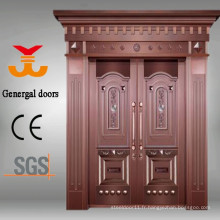 Porte de luxe en cuivre haut de gamme en acier inoxydable