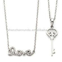 """Nouveaux produits 214 pendentif clé à bijoux avec 20 """"chaîne et 17"""" pavé Crystal """"Love"""" Drop Necklace Vners"""