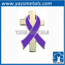 personalize o emblema de design pessoal, pino de lapela customizado para fita de consciência