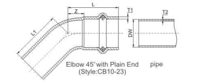 elbow 45 with plain end p