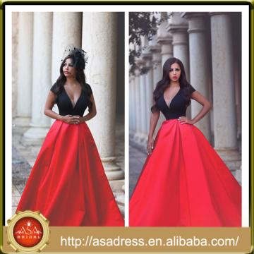 AP-10 2015 Classic Soft A Line Longueur Longueur Mannequin Robe de soirée formelle Sexy Deep V Neck Plus Robes de bal Rouge et Noir Prom