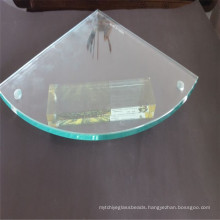 Grinding Toughened Glass Corner Shelf, Sheet Glass with Drilling