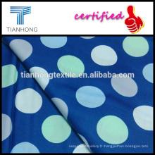 fond bleu 100 coton avec pois colorés réactive teint satin pour robe de vêtements
