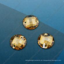Componentes de moda de cristal de pedra redonda de sombra dourada (dz-3043)