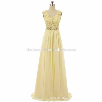 Nouvelle collection perlée partie robe sangle vraie photo en mousseline de soie étage longueur robe de bal femmes 2017 avec v cou et fermeture à glissière