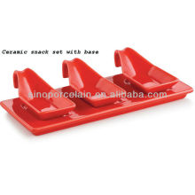 Red Color Keramik Snack Set mit Basis für BS12091C