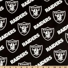 NFL Cotton Fabric Broadcloth Oakland Raiders Black/Silver