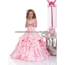 2013 el halter libre del envío rebordeó el vestido CWFaf5198 de la muchacha de flor del desfile del color de rosa del vestido de bola