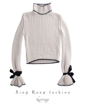 bow sleeve straps loose turtleneck women's turtleneck sweaters