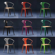 Restaurant Cafe Used Wooden Seat Tolix Arm Chair (SP-MC039W)