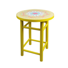 Wood yellow flower stools