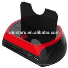 USB 3.0 Docking Station mit Kartenleser / Netzteil, unterstützt 2.5 /3.5-inch SATA HDD, CE / FCC