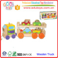 2016 New Style Wooden Vehicle Toy for kids, Wooden Car Transport Toy Vehicle for children, Bright Color Pulling Along Truck Toy
