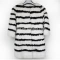 2017 Wholesale Black And White Rabbit Fur Coat For Women