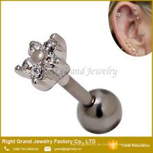 16g Clear Gem Crystal Flower Cartilage Tragus Aleación de zinc Ear Studs Pendientes Piercing