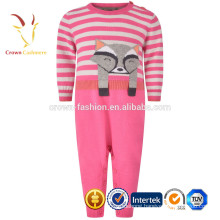 High Quality Baby Stripe Cashmere Knitted Romper Patterns with Fox