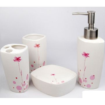 4 PC Of Flower Printed Ceramic Bath Set