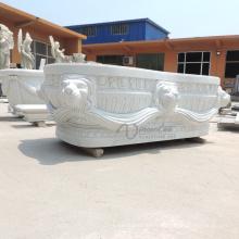 Baignoire solide autoportante en marbre blanc sur mesure à vendre