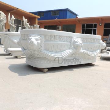 Bañera sólida de mármol blanca independiente hecha a medida en venta